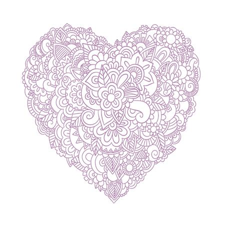 Doodle floral heart. Vintage printable heart with linear flowers vector illustration isolated on white background for your design Illustration