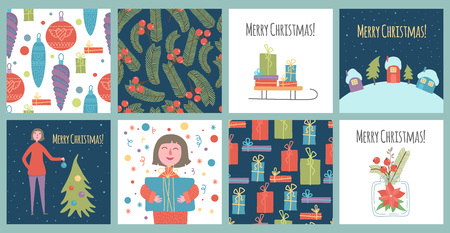 Christmas and Happy New Year templates. Trendy retro style. Vector design element for your business. Holiday illustration. Illustration
