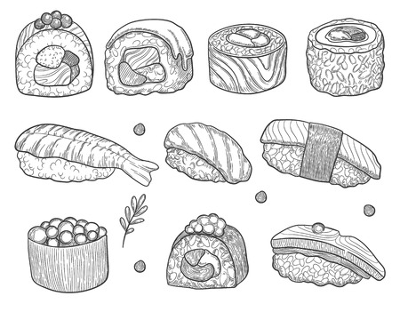 Sushi and rolls, hand drawing Fresh fish and rice. soy sauce with vegetal natural leaf.