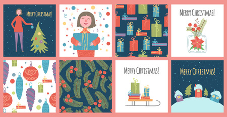 Cute New Year and Christmas vector illustrations of a loving happy girl on a winter vacation. Walking in nature, hugging xmas gift box and decorating a Christmas tree