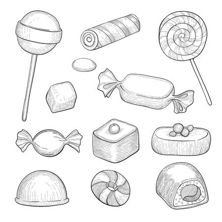 Hand drawn candies. Chocolate candy, lollipop and marmalade, sweets. Vintage sketch vector set - Vector illustration for your design