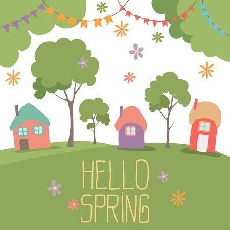 Hello spring greeting card. Cute illustration with spring bouquet flowers in air, little house, garden flower and festive flag. For your design