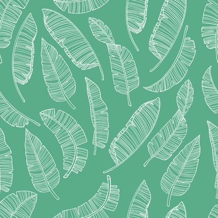 Seamless pattern with banana leaves. Simple pencil drawing. Manual graphics. Stylish vintage illustration. Design wallpaper, fabrics, postal packaging. Illustration for your design.
