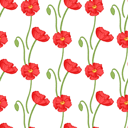 Poppy seamless pattern. Red poppies with green leaves on white background. Can be uset for textile, wallpapers, prints and web design. Vector illustration.