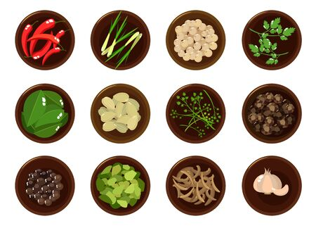 Doodle spezie ed erbe aromatiche, vista dall'alto in una ciotola su sfondo bianco. Set di illustrazioni vettoriali per il tuo design Vettoriali