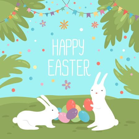 Happy Easter greeting card. Vector illustration with colorful flowers, eggs and rabbits. Isolated on sunny blue sky green landscape background.