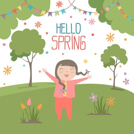 Vector cartoon illustration of hello spring quote. Cute happy girl with long hair stay on green grass in spring park. Hand embrace. End of winter, cold time of year.