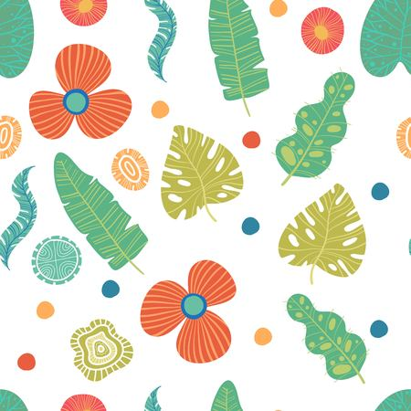 Exotic flowers hibiscus and plumeria banana leaves blue lime color tropical seamless pattern. Beach party background.