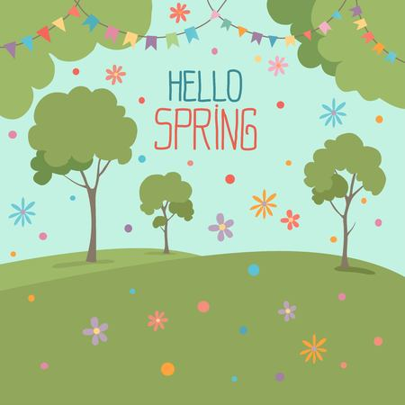 Hello spring illustration greeting card, nature scenery with colorful flowers tree blue sky, flat design style, city park outdoor vector.