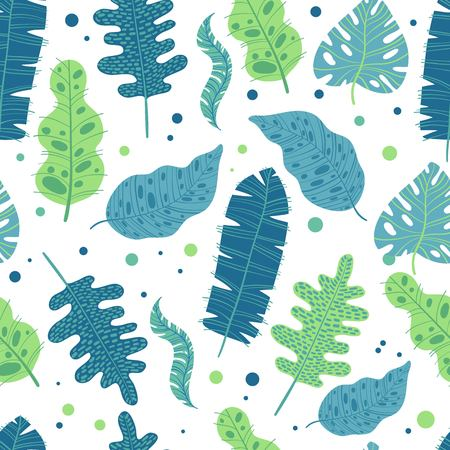 Tropical palm leaves background. Seamless vector pattern with jungle leaves in trendy style for your design.