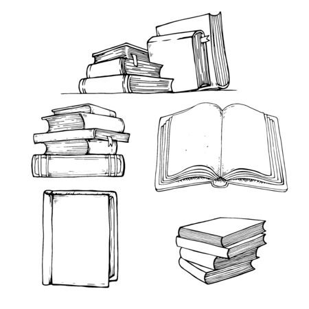Books vector collection. Pile of paper books. Hand drawn illustration in sketch style. Library, Book shop