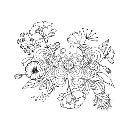 Vintage floral highly detailed hand drawn rose flower stem with roses and leaves. Victorian Motif, tattoo design element. Bouquet concept art. Isolated vector illustration in line art style 일러스트