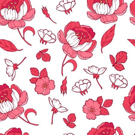 Floral seamless pattern garden flowers peonies. Vector. Design for fabrics, textiles, wallpaper, paper. Victorian style Vector Illustratie