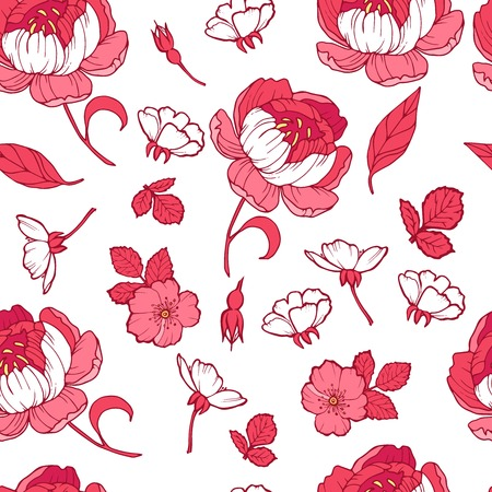 Floral seamless pattern garden flowers peonies. Vector. Design for fabrics, textiles, wallpaper, paper. Victorian style