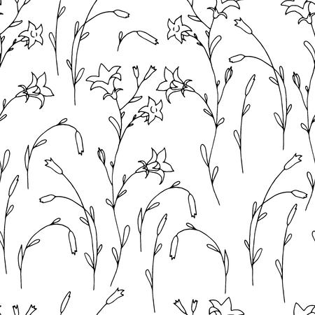 Contrast black and red on white seamless pattern with hand drawn inky flowers and branches. Trendy traditional chinese ink floral elements texture for textile, wrapping paper, surface, wallpaper.