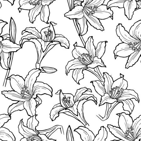 Beautiful monochrome, black and white seamless pattern with lilies. Hand-drawn contour lines. design greeting card and invitation of the wedding, birthday, Valentine's Day, mother's day, other holiday Illustration