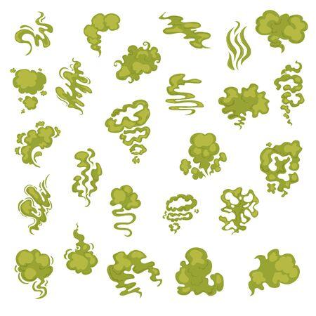 Cartoon aroma, smells, stench, water vapor steam clouds - Vector illustration