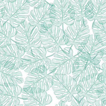 Retro tropical leaves and foliage seamless pattern vector in hand drawn style for fashion fabric and all prints on stylish vintage green background color Illustration