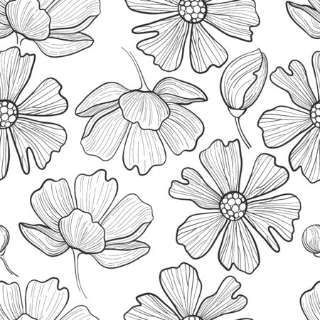 Graphic floral seamless pattern. Vector natural decorations. Wedding style. Coloring book page design for adults and kids Illustration