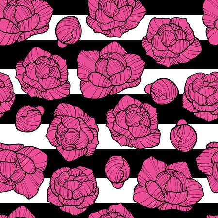 Vector seamless pattern with pink peony and white tulip flowers on white background. Romantic design for natural cosmetics, perfume, women products. Can be used as greeting card or wedding background Illustration