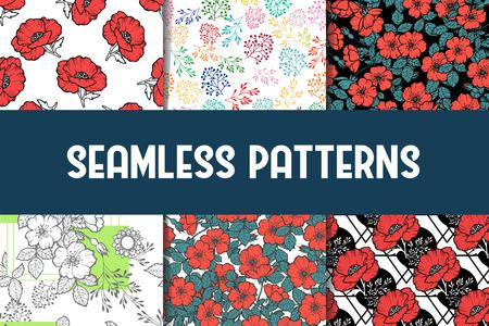 6 Different flower vector seamless patterns, tiling. Romantic chic texture can be used for printing onto fabric and paper or scrap booking. Pink, white and blue colors. For baby, girl and woman.