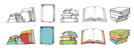 Doodle book collection in color and black style. Hand drawn. Vector illustration for your design.