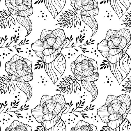 Peony flowers and leaves seamless vertical border. Floral romantic outline wallpaper on white background with text place.