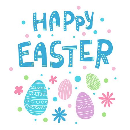happy Easter Hand drawn calligraphy and brush pen lettering. design for holiday greeting card and invitation of the happy Easter day with colorful egg Illustration
