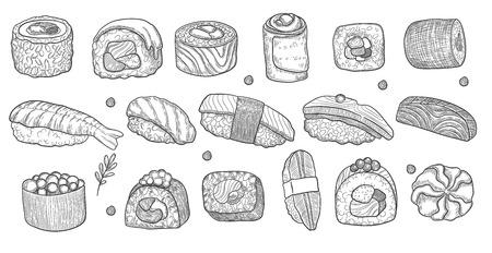 Hand holding chopsticks and sushi roll, black vector line drawing on white background. Different sushi species: maki, nigiri, gunkan, temaki. Japanese food menu design elements.