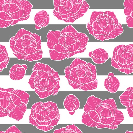 Stitching seamless pattern with marigold flower patch, peony embroidery, blue flowers embroideries in embroidery patch style. Digital illustration on white background. Illustration