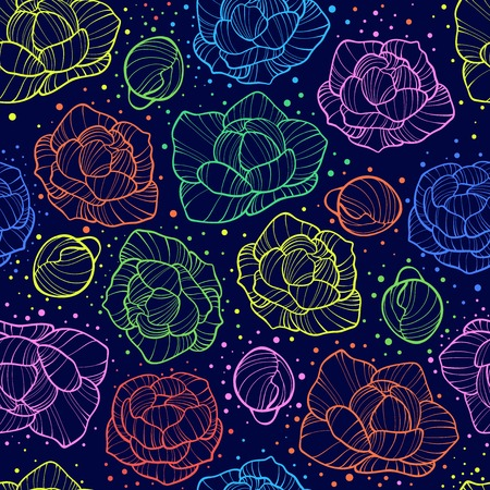 Vector illustration for textile and different occasions. Cute summer and spring flower background. Floral pattern isolated peonies