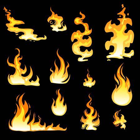 Cartoon fire flame sheet sprite animation vector set. Illustration of fire motion animation, hot flame cartoon animated - Vector illustration Vector Illustratie
