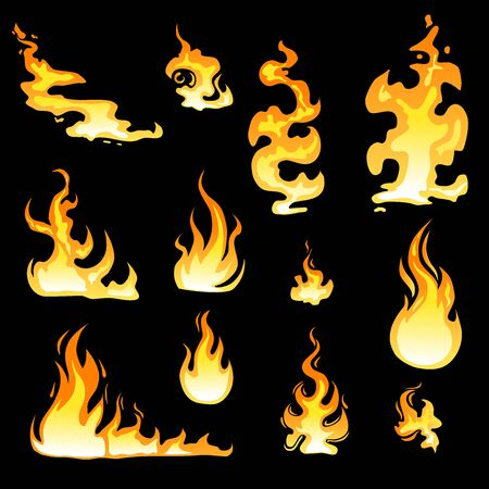 Cartoon fire flame sheet sprite animation vector set. Illustration of fire motion animation, hot flame cartoon animated - Vector illustration