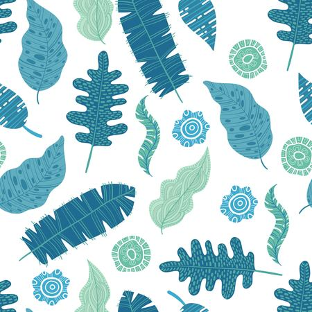 turquoise and green tropical leaves. Seamless graphic design with amazing palms. Fashion, interior, wrapping, packaging suitable. Realistic palm leaves. Illustration