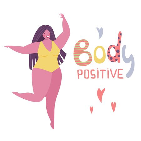 Happy plus size girl doing full split. Happy body positive concept.