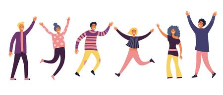 Group of young joyful laughing people jumping with raised hands isolated on white