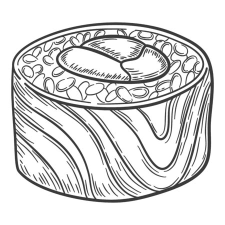 Roll with stuffing in form of sun with sakura branch, fresh roound rice, a vegetable form, vector illustration