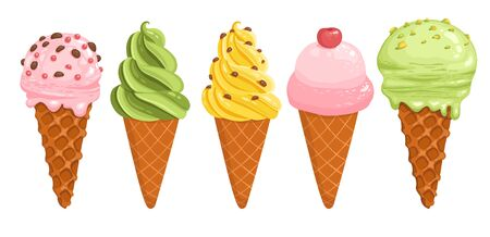 Hand drawn colorful ice cream logo. Sketch of ice cream vector isolated on white background. Illustration of ice cream food, drawing delicious - Vector illustration