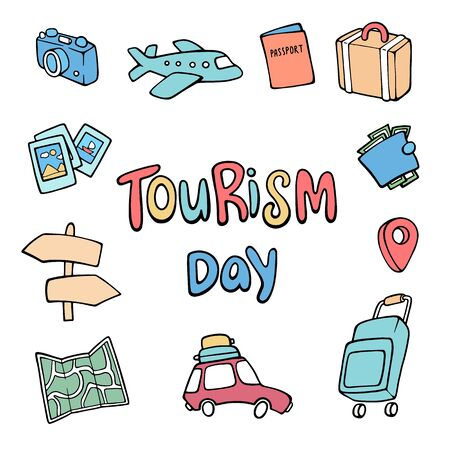 Vector illustration for World Tourism Day. Travel and tourism background. Colorful template with suitcase