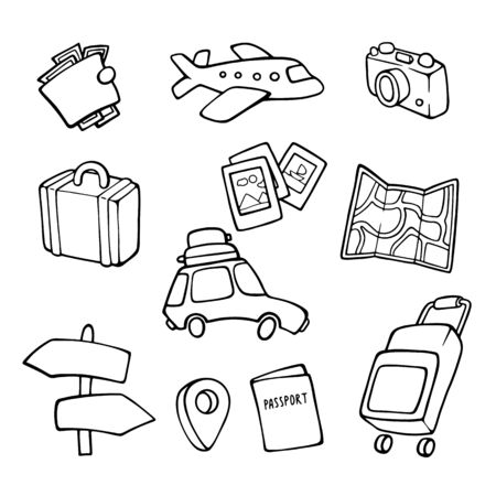 Signs. Tourism. World Travel Day. Hand drawn style.