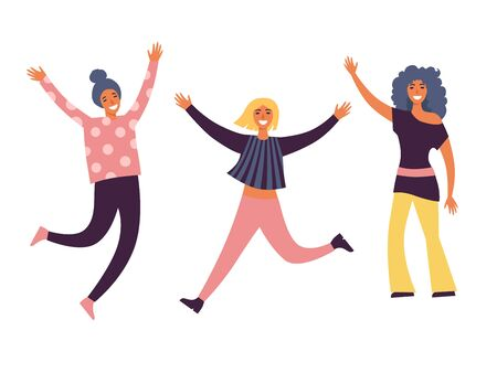 Happy group of people jumping on a white background. The concept of friendship, healthy lifestyle, success. Vector illustration in a flat style