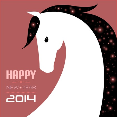 Vector illustration of horse. New year card. Stock Vector - 24069661