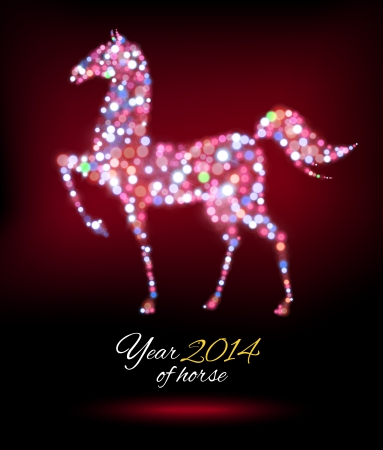 New Year Card for 2014 Year of Horse. Vector illustration.
