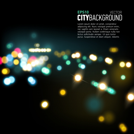 Abstract city background with realistic bokeh lights. Vector illustration Vector