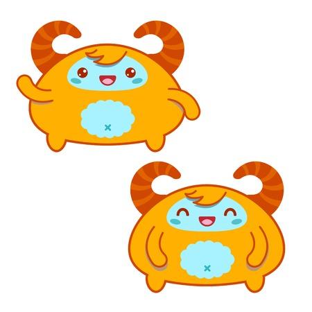 moods: Cute Yellow Kawaii Yeti in two moods Stock Photo