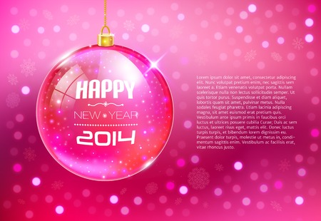 Happy New Year Card with glass ball. Vector illustration illustration