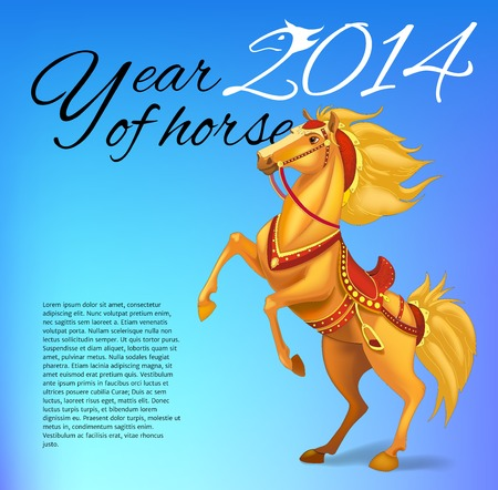 White horse on white background, symbol of New Year 2014. Merry Christmas and Happy New Year Card. Vector illustration. illustration