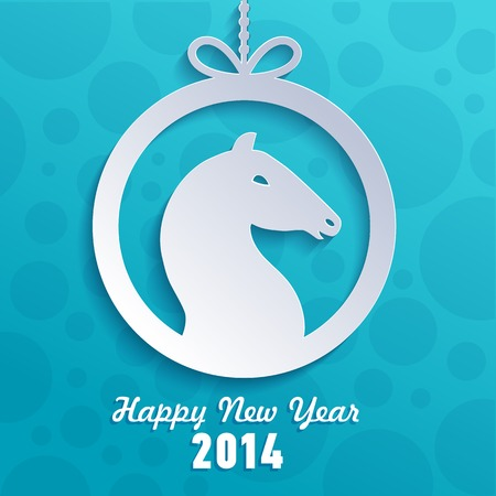 Year of the horse. Happy New Year card. Vector illustration illustration