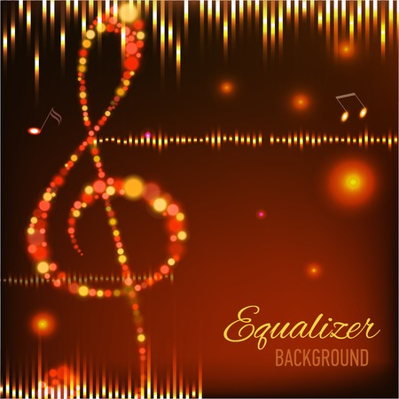 volume glow light: Musical background with key and notes  Illustration