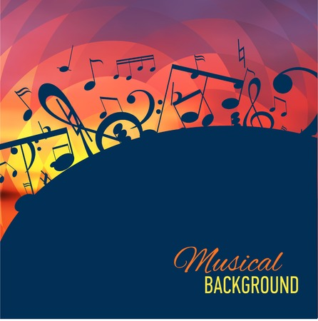 Geometrical background with music notes and key  Vector